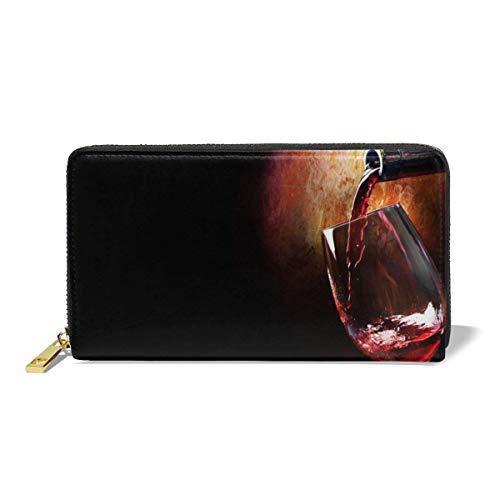 XCNGG Las mujeres de cuero genuino carteras vino tinto titular de la tarjeta de crédito organizador de señoras bolso cremallera alrededor del bolsillo del embrague
