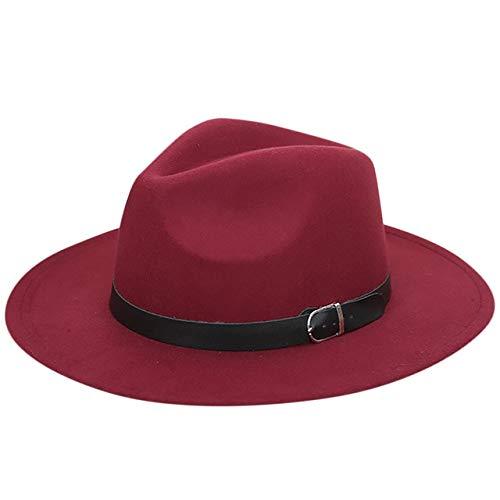 Mdsfe Sombrero para el Sol Sombrero de Fieltro de Lana Rota Sombrero Interior Panamá Sombrero de Paja de ala Ancha Playa Exterior Sombrero para el Sol Sombrero Protector Vino Tinto,