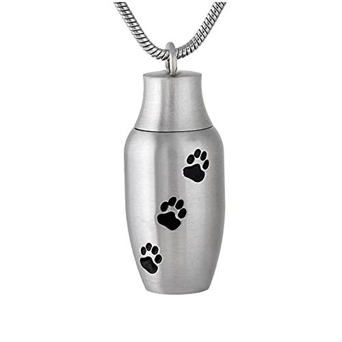 Wxcvz Colgante Conmemorativo ¡Embudo Gratis! Mini Urna De Cremación Impresa con Patas para Mascotas, Collar Conmemorativo, Medallón, Colgante De Cremación para Perros/Gatos para Cenizas