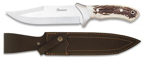 Cuchillo de Caza con Mango de Ciervo. Afilado Artesanal. Cuchillo para para Caza, Pesca, Camping, Outdoor, Supervivencia y bushcarft + Navaja de Regalo
