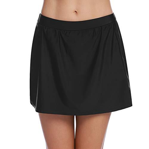 Abollria Damen Baderock mit integrierter Bikinihose Basic Badeshorts Kurze Rockhose zum Baden