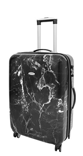 4 Wheel Suitcases Hard Shell Luggage Marble Print Expandable TSA Lock Zipped Travel Bags HLG982 Black (Medium : 66x44x26cm/ 3.60KG, 68L/12L)