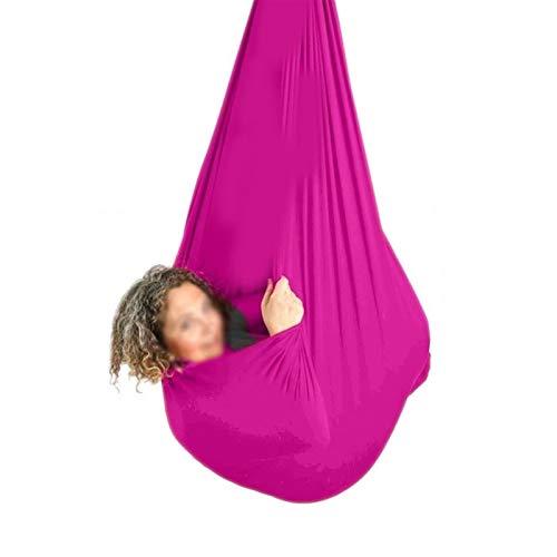 zyy Hamaca Oscilación Columpio De Terapia Abrazo Ideal for La Integración Sensorial Swing De Yoga con Mosquetón hasta 440 Lbs (Color : Pink, Size : 150x280cm/59x110in)