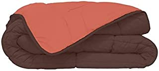 Couette bicolore Polyester Chocolat/Corail 220 x 240 cm - POYET MOTTE - Gamme CALGARY