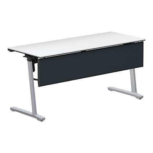 コクヨ 会議テーブル カーム KT-PJ1403P81PAWNN 天板フラップ式 樹脂パネル付き直線タイプ 電源コンセントなし棚なし フラットシルバー脚/天板ホワイト 幅150×奥行き60cm