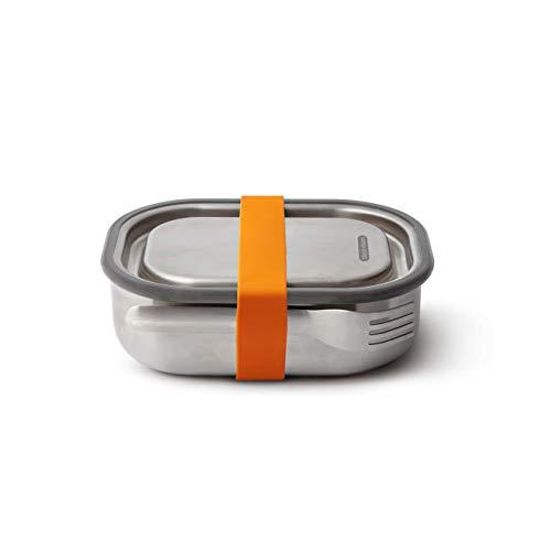 black+blum BAM-SS-L003 Orange 3-in-1 Lunchbox aus Edelstahl mit Vakuumverschluss-absolut auslaufsicher, inklusive Göffel, Silikon, 1000 milliliters