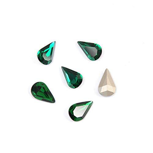 PENVEAT 4320 Pera Drop New Top Cristales Piedras Costura Garra de Vidrio Piedras Strass Pointback Strass para Prendas de Vestir Zapatos de Tela, Esmeralda, con Garra de Oro