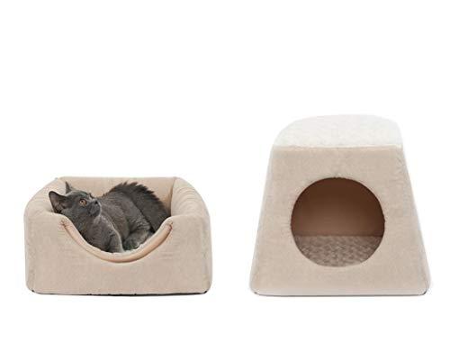 BESTIZ Convertible Fleece Igloo Huisdier Bed Kat Slaapbank Huis Kat Bed, Beige