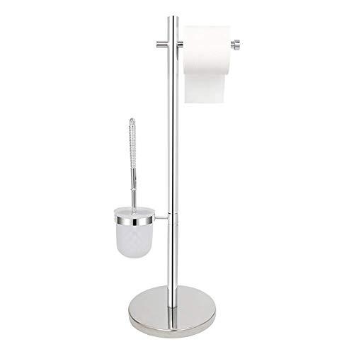 YAJIWU Escobilla de inodoro de pie y soporte para toallas de papel integrados, sin necesidad de taladrar, juego de escobilla de inodoro de acero inoxidable B, A para el hogar (color: A)