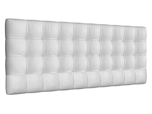 LA WEB DEL COLCHON - Cabecero tapizado Manhattan para Cama de 150 (160 x 70 cms) Blanco | Cama Juvenil | Cama Matrimonio | Cabezal Cama |