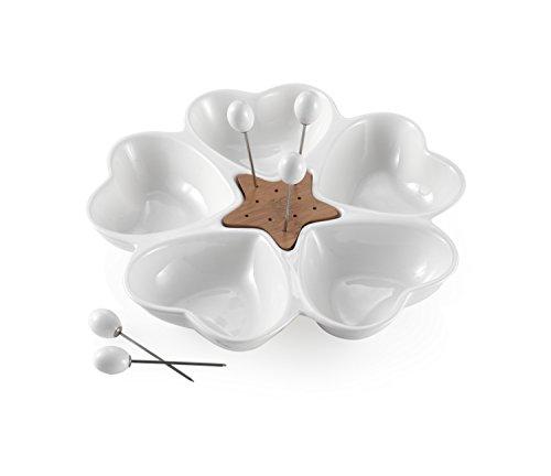Brandani 56818 Antipastiera mille cuori in porcellana bianca e bamboo con 5 forchettine acciaio inox