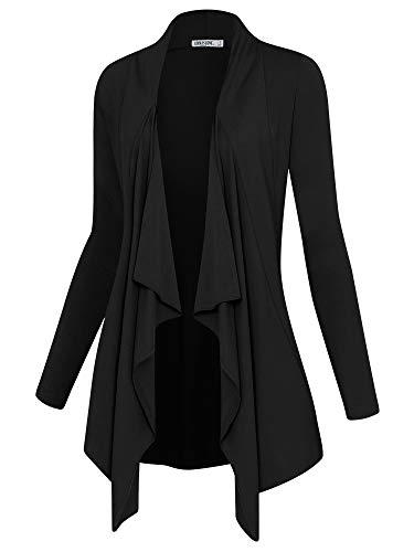 Lock and Love LL Women's Drape Front Open Cardigan Long Sleeve Irregular Hem...