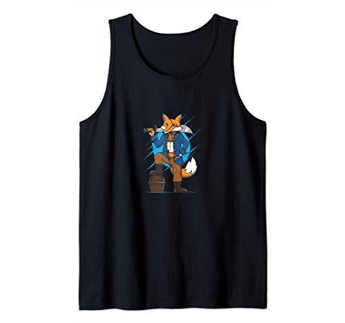Zorro pirata con un cofre Camiseta sin Mangas