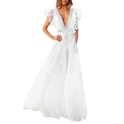 Dasongff Kleider Damen, Sommerkleider Frauen Bikini Bademode Cover Up Cardigan Beach Badeanzug Kleid Strandkleid Chiffonkleid Weiß (S, Weiß-E)