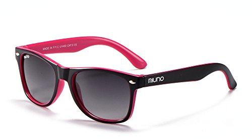 Miuno® Kinder Sonnenbrille für Jungen und Mädchen Etui 2688 (Schwarz/Pink)
