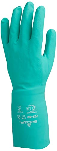 SHOWA 727-09 Nitrile Unlined Chemical Resistant Glove, Large (Pack of 12 Pairs),Light Green