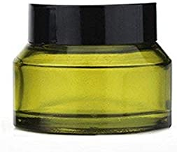 4Pcs 50ml/1.67oz Olive Green Refillable Glass Cosmetic Jars Pot Bottles Case Empty Makeup Face Cream Lip Balm Storage Container with Black Lid and Liners