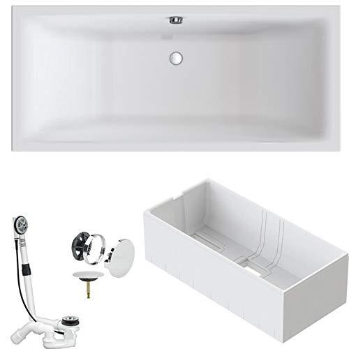VITRA Badewanne M100 DUO Acryl Einbauwanne mit Mittelablauf 190x90cm inkl. Styroporträger/Ablaufgarnitur