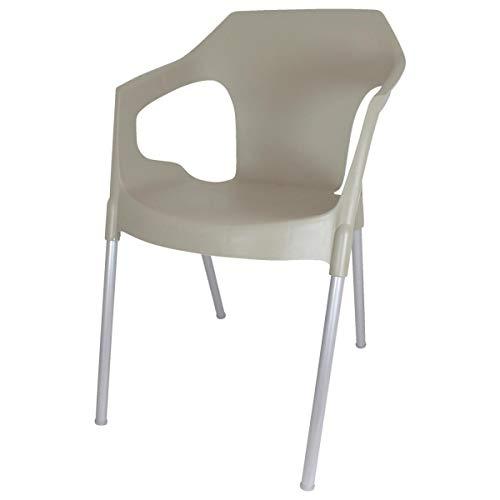 VEGA 30054550 Stuhl Monaco, 55x63x76 cm (BxTxH), Sitz taupe, Gestell silber, 4 Stück