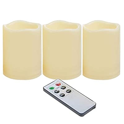 Waterproof Outdoor Battery Operated Flameless LED Pillar Candles with Remote Timer Flickering Plastic Resin Electric Night Lights Lantern Patio Garden Home Decor Party Wedding Decorations