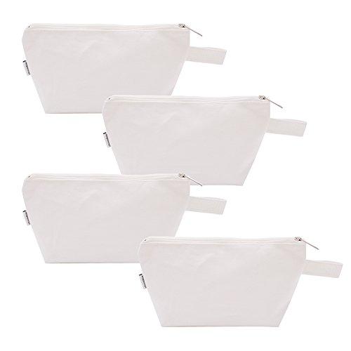 Augbunny Kosmetiktasche/Waschtasche, 100 % Baumwolle, strapazierfähig, vielseitig einsetzbar, 454ml,4Stück, baumwolle, weiß, M
