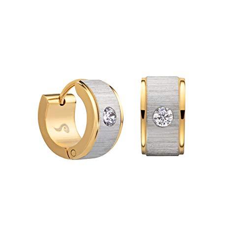Perlkönig | Damen Frauen | Creolen Set | Ear Cuffs | Gold Silber Gebürstet | Rund | Glitzerstein | Nickelabgabefrei