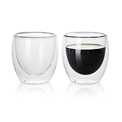 Sweese 424.101 Glass Cappuccino Cups - 8 oz Double Wall Insulated Glass Coffee Tea Cup Set of 2, Perfect for Espresso, Latte, Cappuccino, Tea