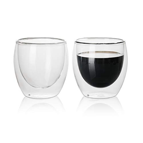 Sweese 424.101 Glass Cappuccino Cups - 8 oz Double Wall Insulated Glass Coffee Cups, Clear Espresso Cups, Tea Cups - Set of 2