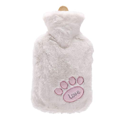 Hot Water Bottle Cute Cartoon Hot Water Bag Hand Warm Portable Rubber Winter Warm Hot Water Bottle Girls Pocket Hand Feet Hand Warmer 1000Ml (Color : White)