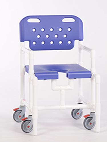 IPU ELT8200 MS Mid-Size Elite Rolling Shower Chair for use Over Toilet and in The Shower (Blue)