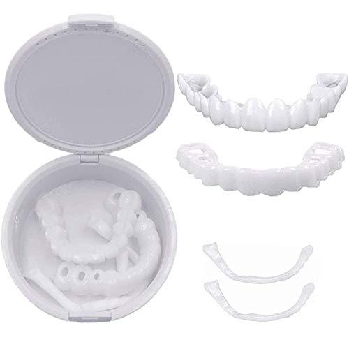 ADHE 4 Pairs Veneers Snap in Teeth,Top and Bottom Teeth to Perfect Smile Cosmetic Teeth Snap on Secure Upper Lower Flex Dental Veneers