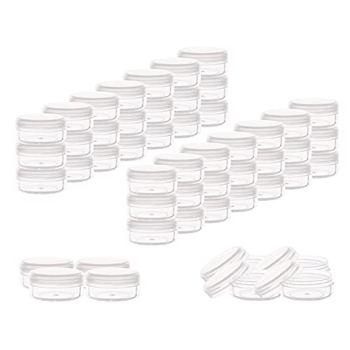 Tiny Sample Containers 3 Gram 3 ML Sample Jars 75pcs Makeup Sample Containers with Lids (clear)