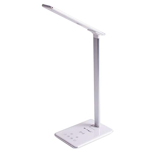 LEDLUX JF8601 LED tafellamp 5W CCT dimbaar met oplader Wireless QI Smartphone Base rechthoekig lichaam wit V-TAC SKU-8601