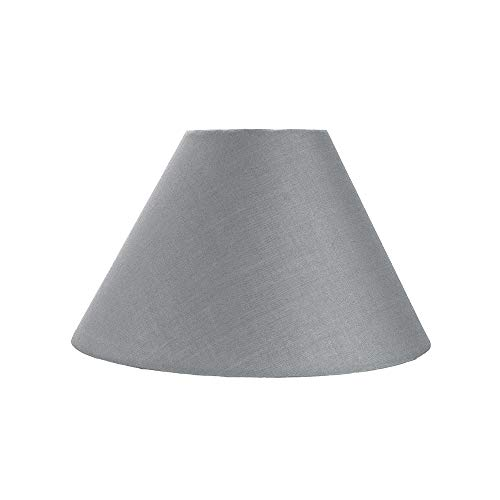 Traditional 8' Grey Cotton Coolie Lampshade Suitable for Table Lamp or Pendant by Happy Homewares