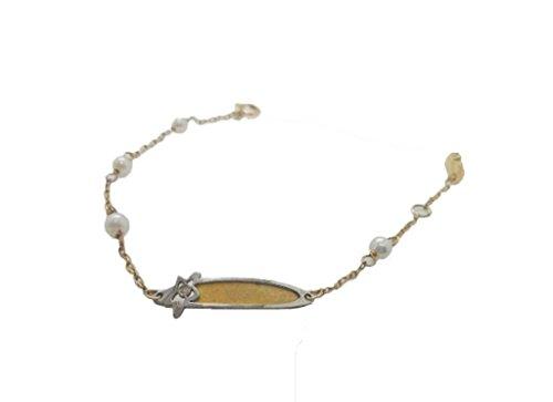ESCLAVA de Oro 18 K Amarillo y Blanco con Perlas cultivadas y un Brillante para Bebe con Placa para Grabar Nombre (Todo Incluido).