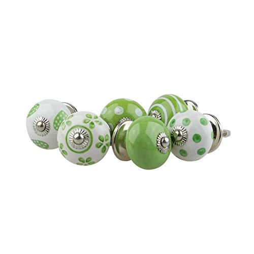 Pomelli in ceramica assortiti set 6pcs 062GN cuore verde bianco - porcellana dipinta a mano tira cassetto armadio maniglie - Jay Knopf
