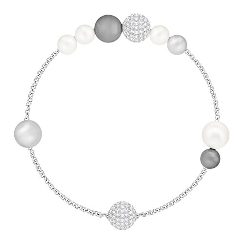 Swarovski Remix Collection Pearl Strand, Grigio, Placcatura Rodio