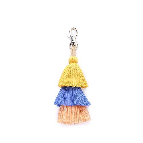 VYZSD Art- en wijsbohemen-Vrouwen Kleurrijke overlayde troddel-natuurlijke schelp-hanger Keychain Ring-zak-versiering