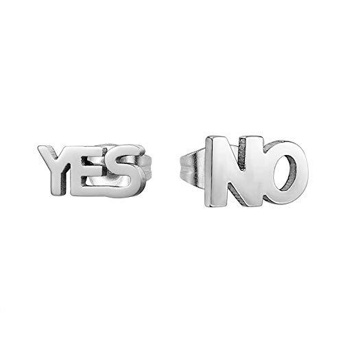 Pendientes Yes & No de Diseño Dorados y Plateados con cierre de Mariposa para Niñas y Mujeres -...