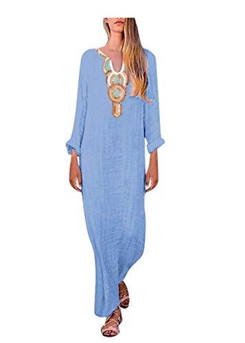 IZHH Damen Langarm V-Ausschnitt Mode Brautkleid, Sommer lässig Leinen Gemütlich Tank Kleid Langes Kleid Sommerkleid Trägerkleid Strandkleid(Blau,M)