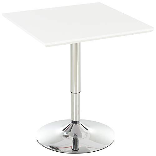 HOMCOM Bistrotisch Pub Bartisch Höhenverstellbarer Quadratischer Stehtisch Tisch Stahl Weiß 60 x 60 x 71-92 cm