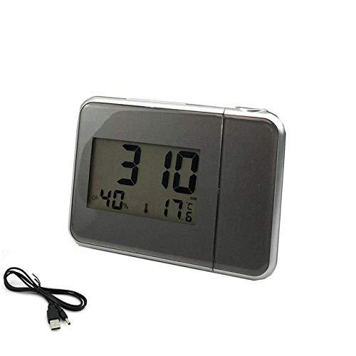 LIUCHANG Wecker Projektions-Digital-Uhr-Taktgeber mit Wetterstation Thermometer Datumsanzeige USB-Ladegerät Snooze LED, 3 liuchang20 (Color : 3)