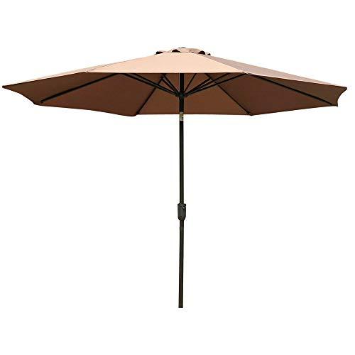 Outsunny φ3m Garden Parasol Round Market Patio Sun Umbrella Outdoor Sunshade Canopy, Coffee