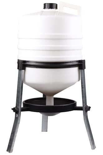 horizont Tränke Hühner 30l Kunststoff Tränke Geflügeltränke inkl. Füßen aus Stahl und Tragegriff Wasserspender für Wachteln Enten und anderes Geflügel bruchfester Kunststoff Hühnertränke