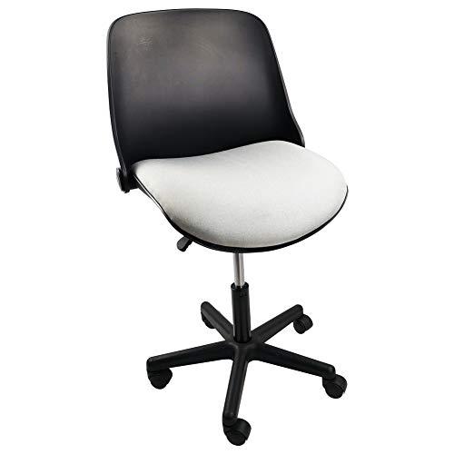 KKTONER Foldable Back Office Chair Swivel Rolling Stool Height Adjustable Computer Desk Home Work Chair (Black)