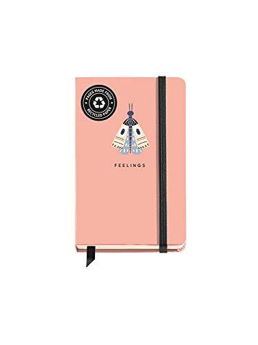 Miquelrius – Cuaderno Tapa Dura – Tamaño 90 x 140 mm, 100 Hojas Blancas, Cierre con Goma, Color Rosa, Diseño Butterfly