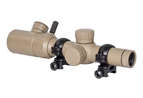 Monstrum 1-4x20 Rifle Scope with Rangefinder Reticle and Medium Profile Scope Rings | Flat Dark Earth