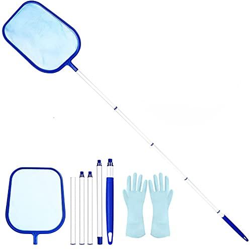 Familybox Epuisette de Surface, Détachable Filet à Mailles Fines Kit Nettoyage Piscine pour Piscine, Bassins, Fontaine, Étang, Réservoir à Poissons (Bleu)