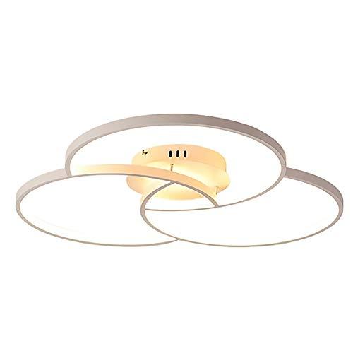 Lámpara de Techo Accesorio Regulable con Mando A Distancia LED Plafón Creativa Anillo Lámpara Moderna Sencillo Montaje Techo De Iluminación Inicio Habitación Sala De La Lámpara Nórdica,Blanco,58CM