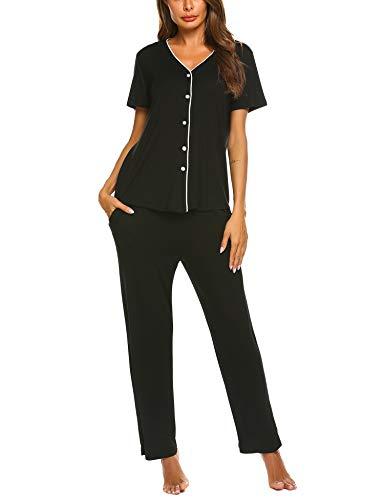 Schlafanzuge Damen Kurz Pyjama Set Kurzarm Nachtwäsche V-Ausschnitt Sleepshirt Zweiteiliger Shirt lang Hosen Sommer